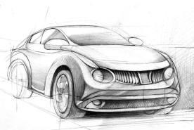 Concept car, rysunek ołówkiem