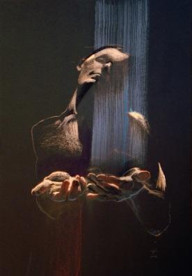 Autoportret ze światłem, suchy pastel