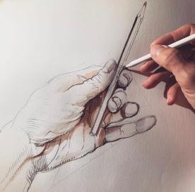 Rysunek ołówkiem i akwarelą